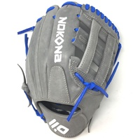 nokona american kip gray with royal laces 11 5 baseball glove closed h web right hand throw