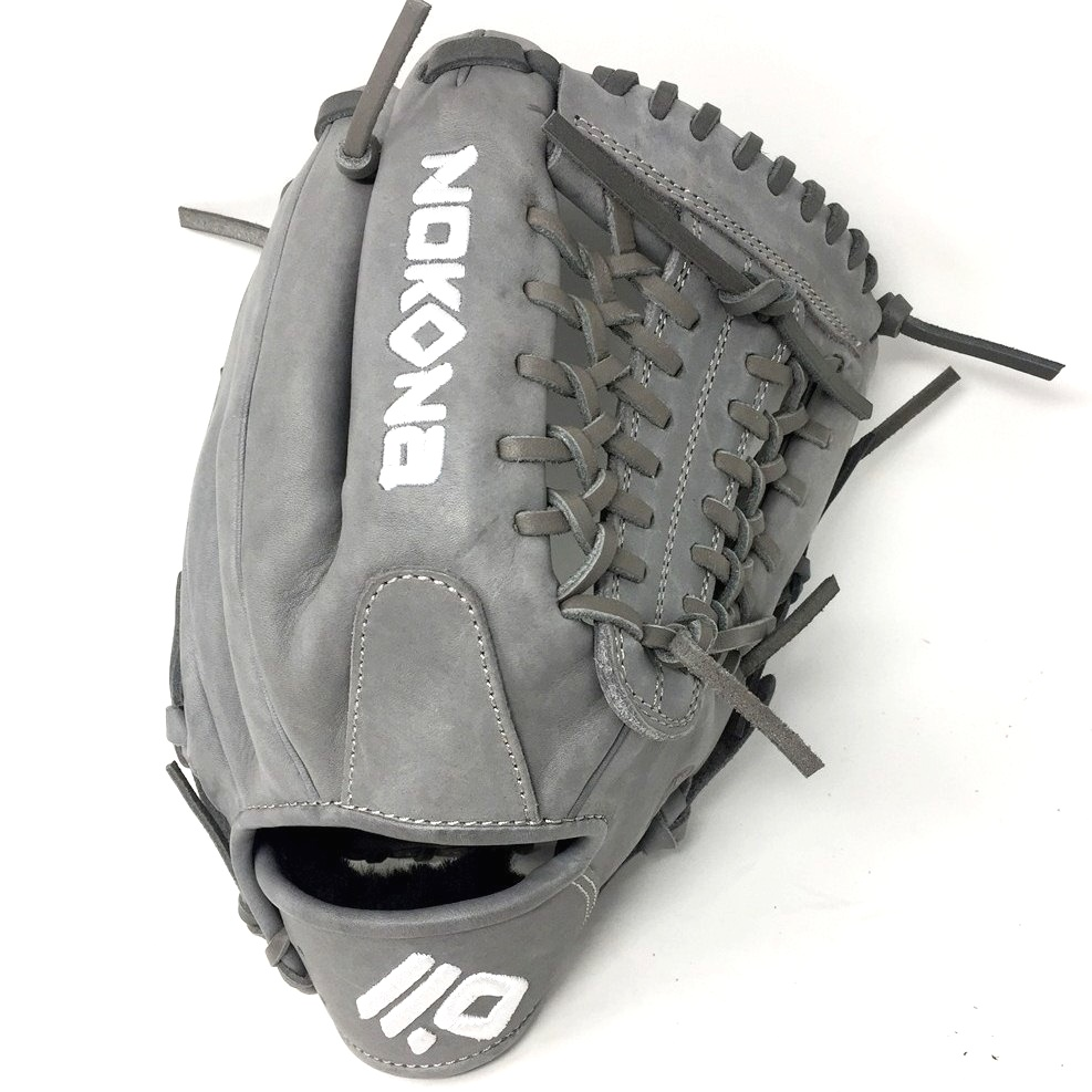 nokona-americankip-14u-gray-with-silver-laces-11-25-baseball-glove-mod-trap-web-right-hand-throw A-200M-GR-SI-RightHandThrow  Does Not Apply The American Kip series made with the finest American steer hide