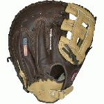 Nokona BB-1250H Buckaroo (SandstoneChocolate Kangaroo) First Base Mitt 12.5 (Right Handed Throw) : Chocolate Kangaroo Leather on the back of the hand with sturdy Sandstone leather on the palm. Kangaroo leather is amazingly storng and lightweight, and Sandstone adds the body and form needed to maintain a solid pocket and overall fit.