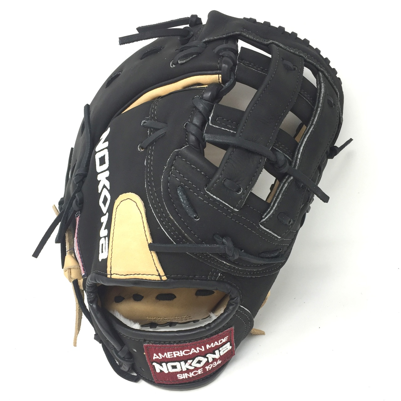 nokona-bison-12-5-black-alpha-first-base-mitt-baseball-glove-s-3hb-right-hand-throw S-3HB-RightHandThrow  808808893349 Young Adult Glove made of American Bison and Supersoft Steerhide leather