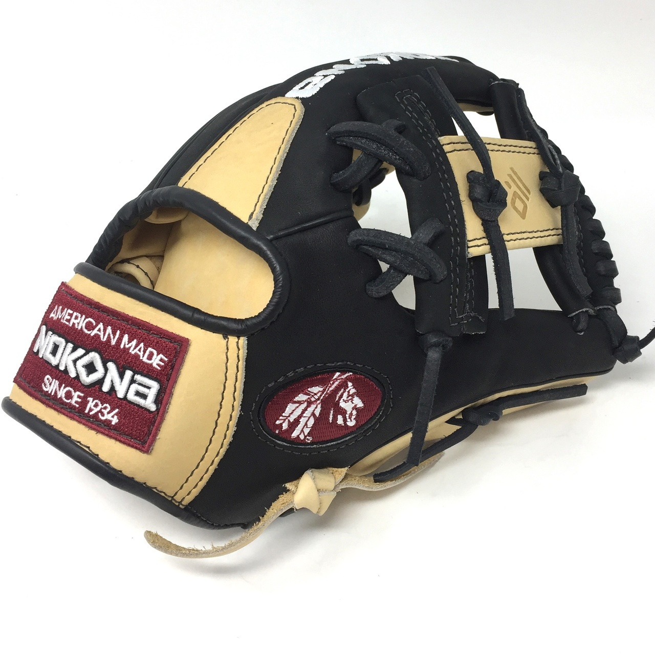 nokona-bison-black-alpha-baseball-glove-s-1150ib-11-5-inch-right-hand-throw S-1150IB-RightHandThrow  808808893226 Young Adult Glove made of American Bison and Supersoft Steerhide leather