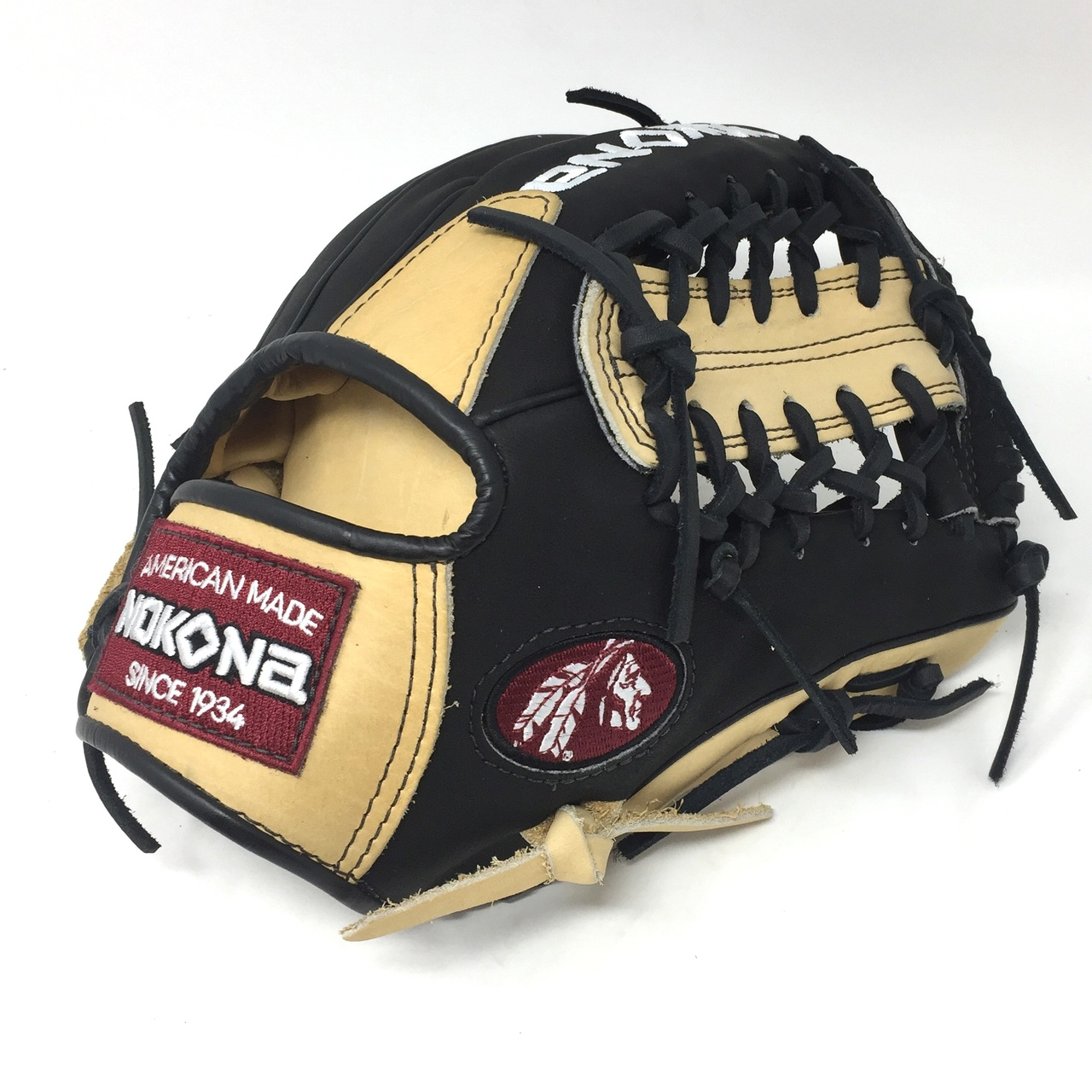 nokona-bison-black-alpha-baseball-glove-s-1150mtb-11-5-right-hand-throw S-1150MTB-RightHandThrow Nokona 808808893240 Young Adult Glove made of American Bison and Supersoft Steerhide leather
