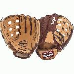 Nokona Buckaroo (SandstoneChocolate Kangaroo) Baseball Glove H Web 11.75 (Right Handed Throw) : Chocolate Kangaroo Leather on the back of the hand with sturdy Sandstone leather on the palm. Kangaroo leather is amazingly storng and lightweight, and Sandstone adds the body and form needed to maintain a solid pocket and overall fit.