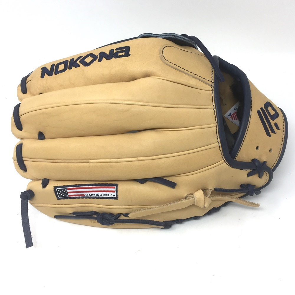 nokona-skn-series-baseball-glove-12-75-right-hand-throw SKN-8-NV-RightHandThrow  808808892502 <p>12.75 Outfield Pattern H-Web Palm Leather American Bison Back Leather Japanese
