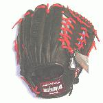 pNokona professional steerhide baseball glove with red laces, modified trap web, and open back./p