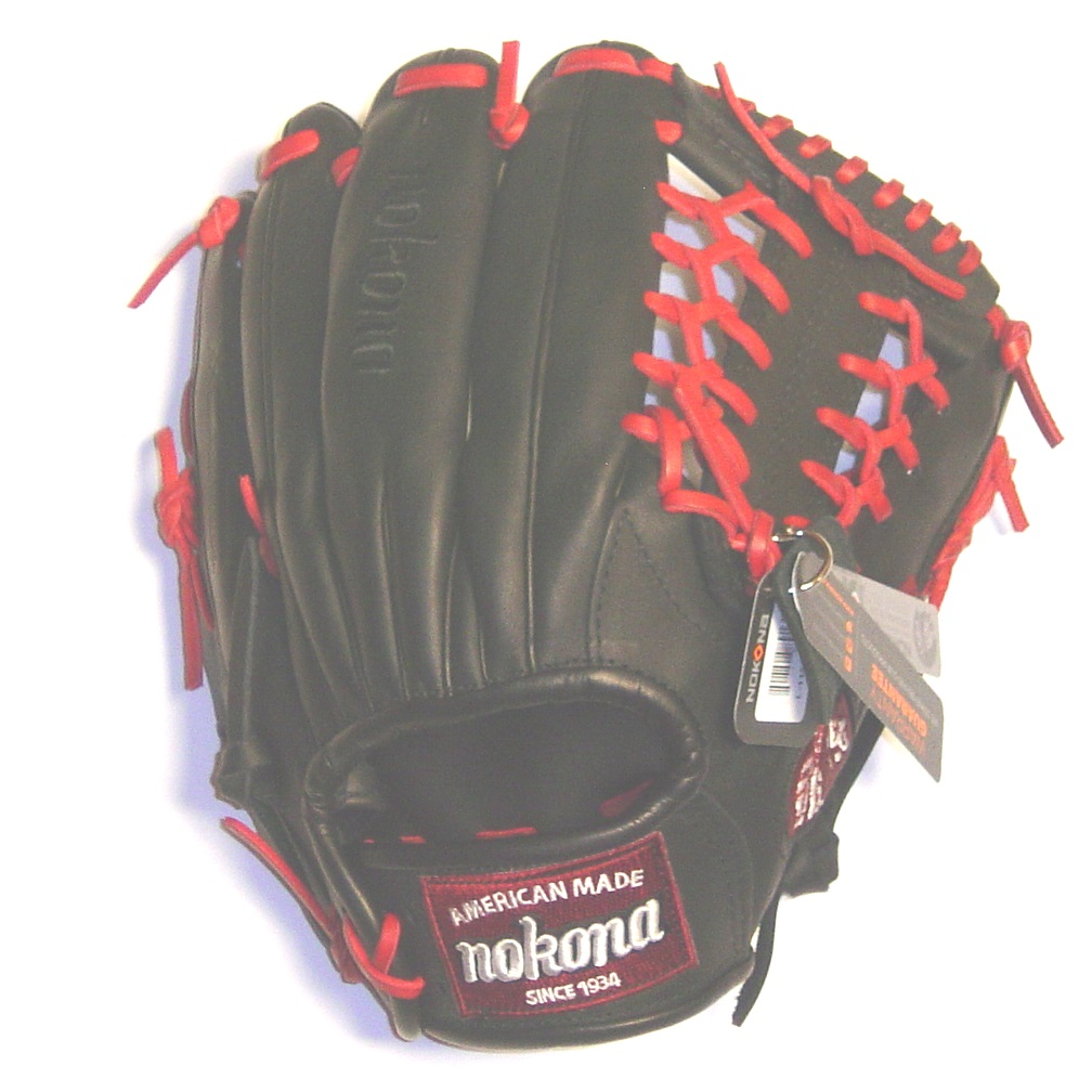 nokona-steerhide-pro-l-1150m-baseball-glove-11-5-right-hand-throw L-1150M-BLK-RightHandThrow Nokona 808808891314 <p>Nokona professional steerhide baseball glove with red laces modified trap web