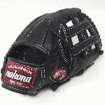 Nokona preminum steerhide black baseball glove with white stitching and h web. The Nokona Legend Pro is a top-of-the-line glove that is made is made entirely from full Sandstone Leather, which is noted for its light color and medium to firm feel. This glove is ideal for a player looking for structure, durability, and a custom break-in. As with all high quality gloves, the Legend Pro will take effort to break in, but it will be well worth it! Once the Legend Pro is game ready, it will maintain its shape and offer exceptional durability for as long as your own the glove. Nokona has built a reputation for providing the highest quality gloves, which are made right here in the USA.