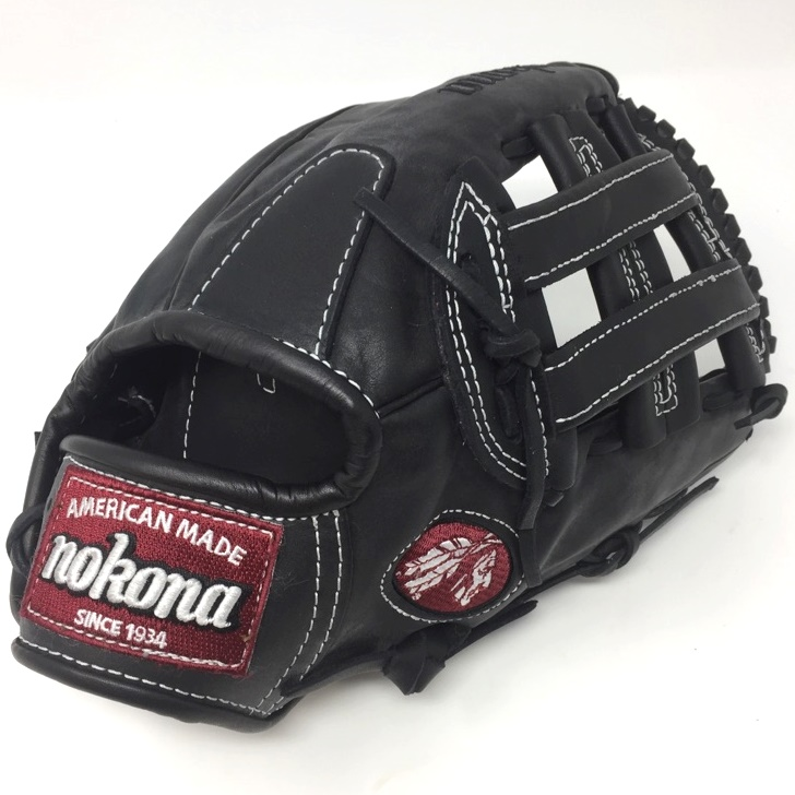 nokona-steerhide-pro-l-1200h-baseball-glove-12-inch-right-hand-throw L-1200H-BLK-RightHandThrow Nokona 808808891321 Nokona preminum steerhide black baseball glove with white stitching and h