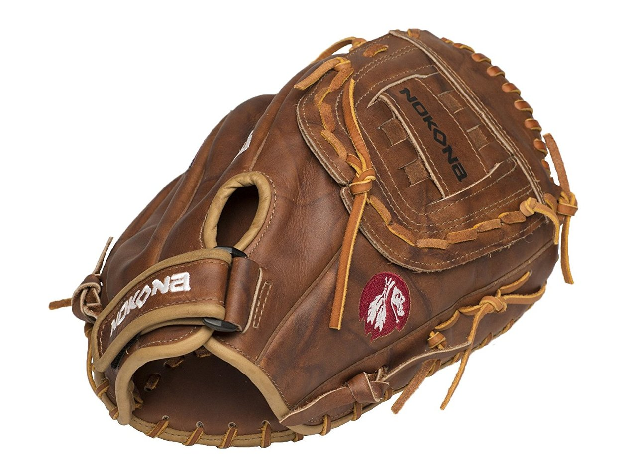 Nokona has outdone itself again! The Nokona Walnut Series has a versatility most gloves simply can not match. This series incorporates a unique design that makes it eligible for play in both baseball and softball. This series is constructed from a flexible and lightweight Walnut Steerhide Leather and features a quality that is second to none. Nokona has also installed a modified weave and a closed web that gives the mitt added strength and added flexibility to boost player performance. Featuring a closed back style, the Nokona Walnut Series First Base Mitt utilizes a strong hook and loop fastener on a D-ring, which is quickly adjustable, and ensures a solid lock, meaning extra safety The pocket has been enlarged, and this feature creates a bigger opening space to help make catching easier than ever before. This glove was handmade in the USA in Nocona, Texas.