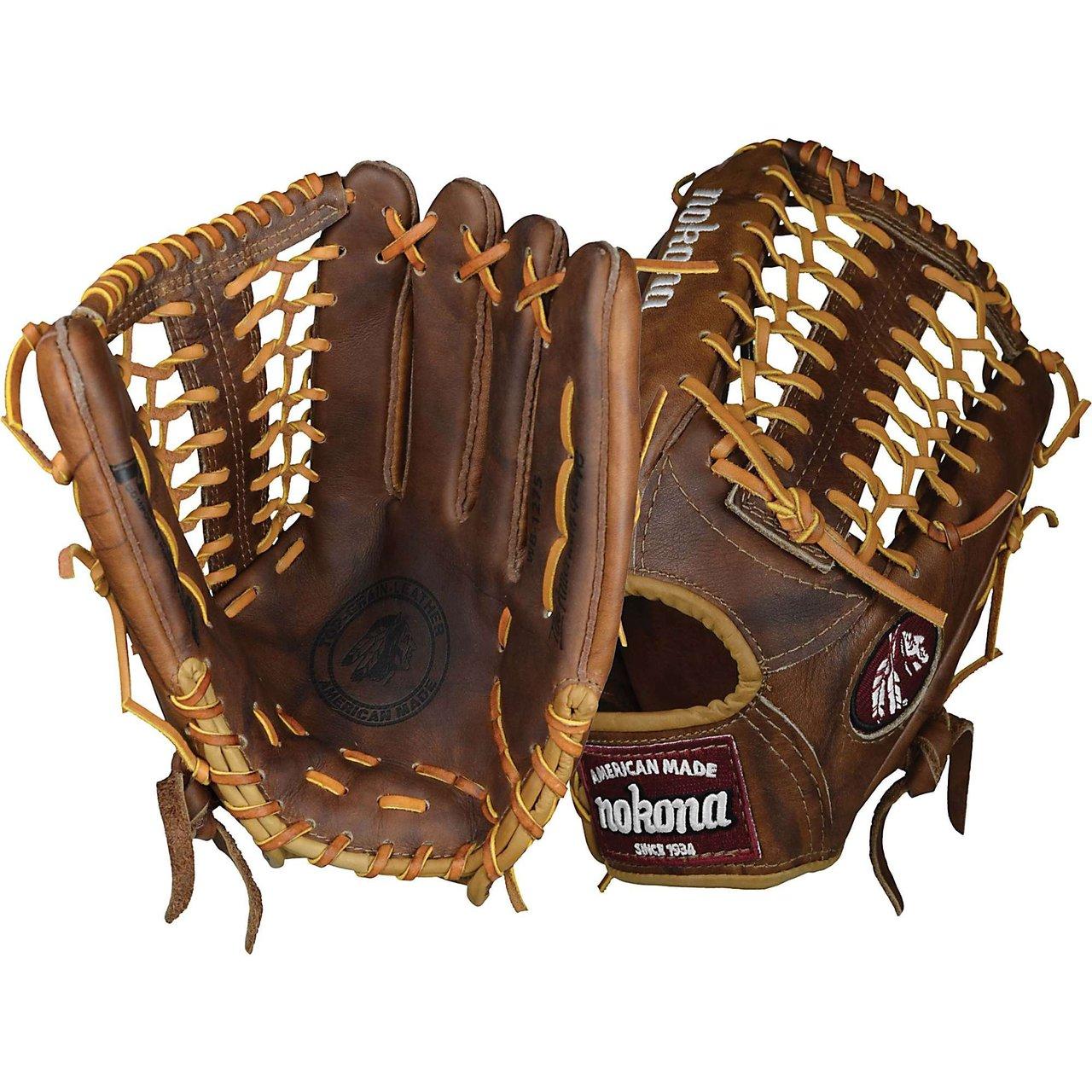 nokona-wb-1275m-walnut-baseball-glove-12-75-inch-right-handed-throw WB-1275M-Right Handed Throw Nokona 808808889083 Nokona classic walnut leather baseball glove with modified trap web and