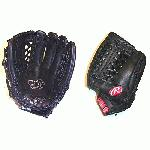 Rawlings Gold Glove Series 11.5 Modified Trap-eze Web Black baseball glove. Rawlings gold glove series are used by high school and recreational players. Many players not yet ready for an adult pro mitt or players on a budget also choose Rawlings gold gloves. Full leather and professional pattern like the pro's just at a affordable price.