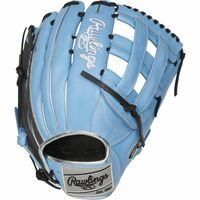 The 12.75-Inch Heart of the Hide ColorSync outfield glove is constructed from ultra-premium steer-hide leather, and provides unmatched durability and comfort from top to bottom. With deer-tanned cowhide palm lining, you'll notice a comfortable, soft touch every time you make a catch. As a result, you'll be able to focus on quicker glove to hand transfers. In addition, the fourth edition Rawlings ColorSync line provides a sleek, stylish look that will match your teams' colors perfectly. The Hyper Shell trim pops with the Columbia Blue back, while the Silver ColorSync patch ties it together. Get one of the best gloves in the game in limited edition colors hardly anyone else will have. Baseball Back: Conventional Player Break-In: 60 Fit: Standard Level: Adult Lining: Deer-Tanned Cowhide Pattern: Pro Position: Outfield Series: Heart of the Hide ColorSync Shell: Steer Hide Leather Web: Pro H Size: 12.75 in