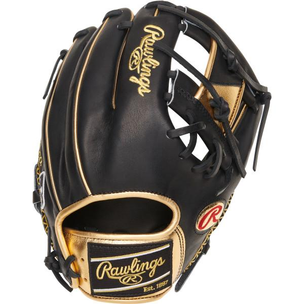 """Constructed from Rawlings' world-renowned Heart of the Hide steer hide leather, Heart of the Hide gloves feature the game-day patterns of the top Rawlings Advisory Staff players. These high quality gloves have defined the careers of those deemed The Finest in the Field, and are now available to elite athletes looking to join the next class of defensive greats. PRODUCT FEATURES Gold Glove Club: October 2020 Heart of the Hide leather crafted from the top 5% steer hide resulting in a firm glove that's easy to mold and shape Limited 4th - edition PROGOLDY pattern 11 1⁄2"""" infield pattern with a Pro-ITM web allows for quick ball transfer Smooth, deer-tanned cowhide liner with an adjustable, padded thumb sleeve for maximum comfort Features unique black and gold patch and gold oval R logos Showcases MLB logo on pinky finger Limited Edition"""