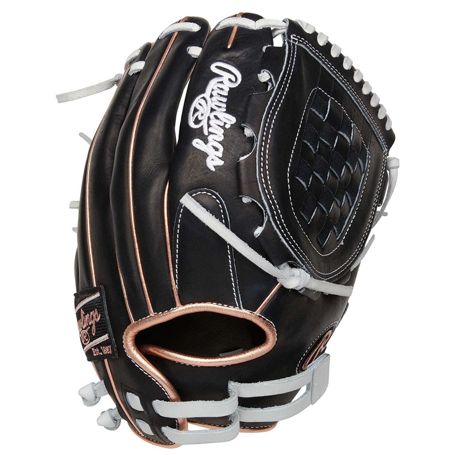 Artfully crafted from quality full-grain leather, the 2021 12-inch Heart of the Hide softball glove offers the same unmatched quality you expect from any HOH glove. Its 12-inch pattern is designed specifically for softball players too. Its large pocket and softer leather construction allow for a quick, easy break-in and game-ready feel. As a result, you'll be playing consistently better defense in no time at all. In addition, this black shell glove with white trim and rose gold welting and binding features a padded thumb sleeve for optimal comfort, and an adjustable Pull-Strap back. This means you get a 'custom fit' and more glove control every inning you're on the field. If you're an elite level softball player this glove is perfect for you. Make it your new gamer.  Color:   Black  Throwing Hand:   Right  Sport:   Softball  Back:   Adjustable Pull Strap  Player Break-In:   35  Fit:   Narrow  Level:   Adult  Lining:   Shell Leather Palm  Padding:   Moldable  Series:   Heart of the Hide  Shell:   Horween Featherlight Leather  Web:   Basket  Size:   12 in  Pattern:   120SB  Age Group:   Pro/College, High School