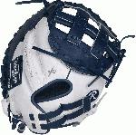 Limited Edition Color Series - White/Navy Colorway 33 Inch Women's Catcher's Model Modified Pro H Web Break-In: 80% Factory / 20% Player Custom Fit, Adjustable, Non-Slip Pull Strap Back