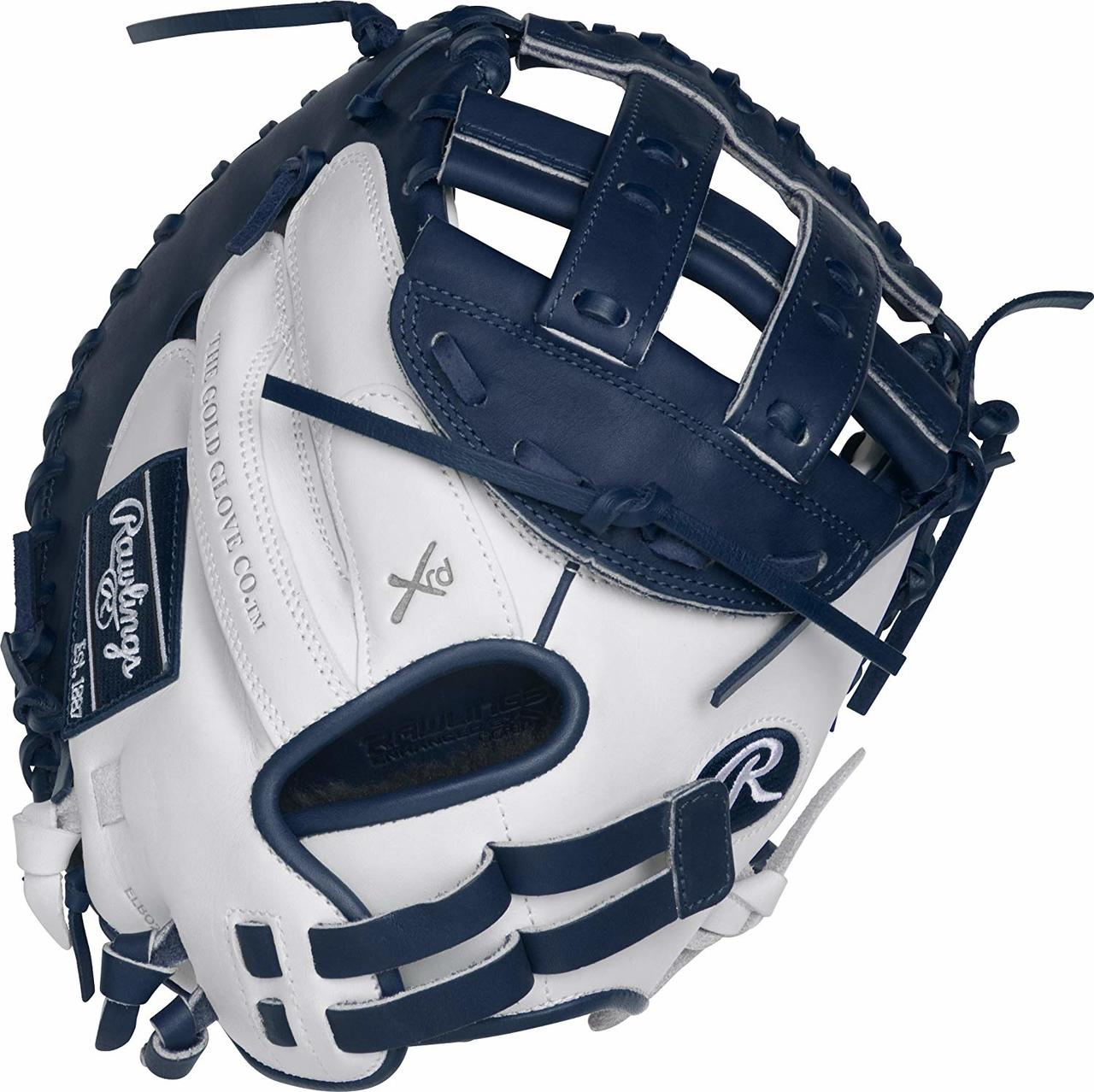 rawlings-liberty-advanced-33-rlacm33fpwn-fastpitch-softball-catchers-mitt-right-hand-throw RLACM33FPWN-RightHandThrow Rawlings 083321439735 Limited Edition Color Series - White/Navy Colorway 33 Inch Womens Catchers