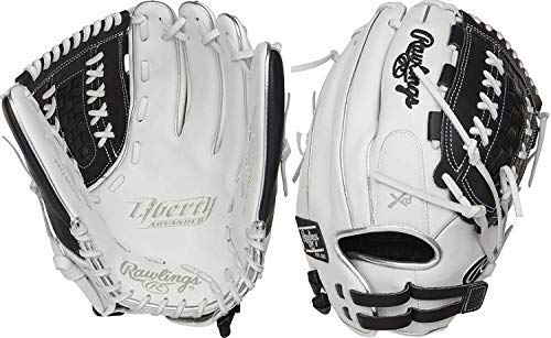 Crafted from the finest full-grain leather, the Liberty Advanced 12.5-Inch fastpitch glove features exceptional quality. In addition, it also offers a soft, game-ready feel for a quick and easy break-in. The combination of its large, 12.5-inch softball-specific pattern and double-laced basket web make it an ideal choice for infielders, pitchers and outfielders alike. The adjustable pull-strap allows for a custom fit. As a result your glove will always feel comfortable on your hand. Furthermore, the Poron XRD padding provides optimal palm protection against even the hardest hit balls. All of this is packed in new, unique colorways for an unmatched look and style on the diamond. Take your game to the next level; shop now!  Color:   White/Black  Throwing Hand:   Right  Sport:   Softball  Back:   Adjustable Pull Strap  Player Break-In:   30  Fit:   Standard  Level:   Adult  Padding:   PORON XRD Palm Pad  Series:   Liberty Advanced  Shell:   Full Grain Leather  Web:   Basket  Size:   12.5 in  Collection:   Color Series  Pattern:   125SB  Age Group:   Pro/College, High School, 14U   Limited Edition Color Way 12.5 Pattern game-ready feel full-grain oil treated shell leather Adjusted hand openings for improved fit and control.