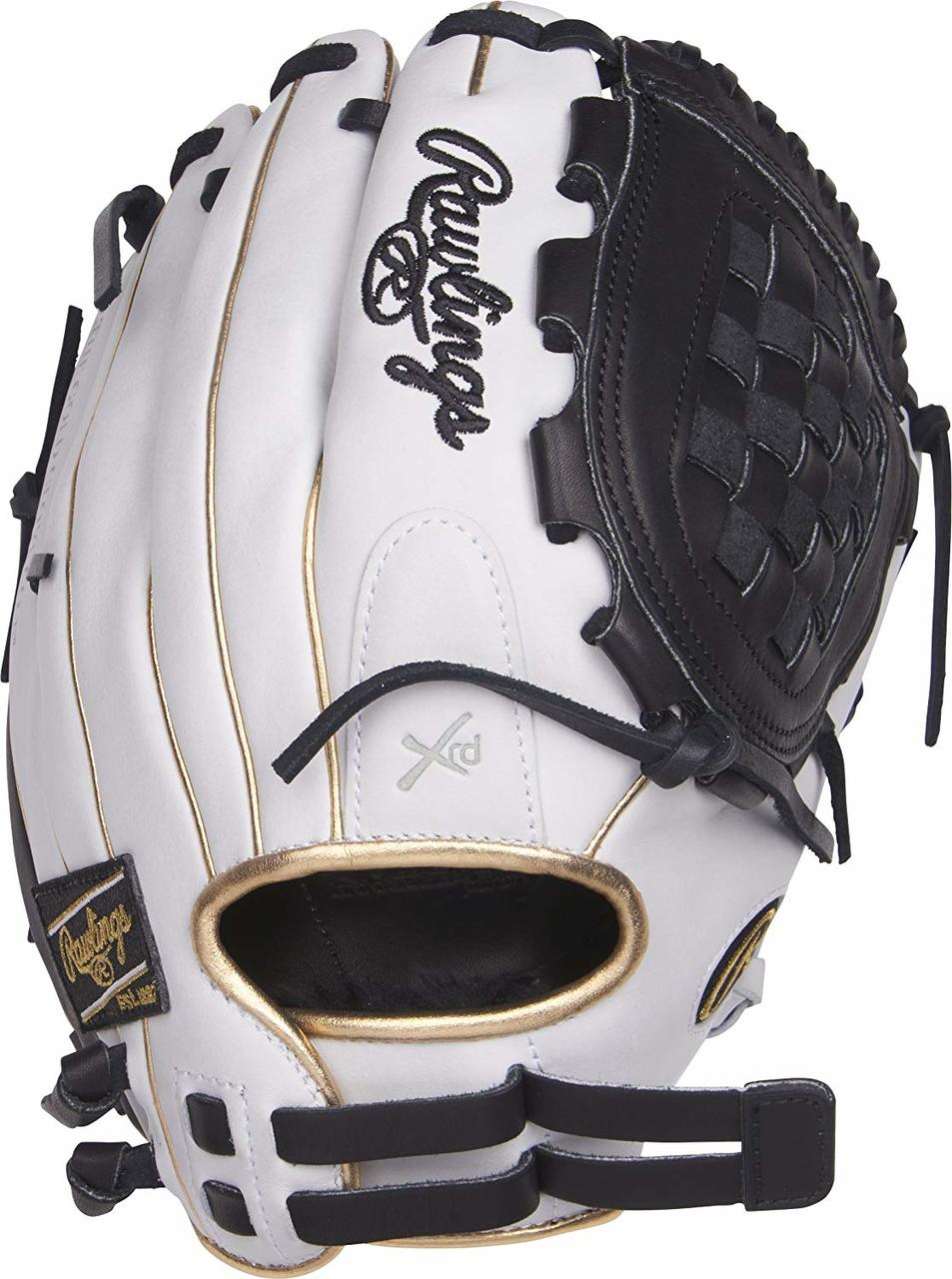 rawlings-liberty-advanced-rla120-3wbg-fastpitch-softball-glove-12-right-hand-throw RLA120-3WBG-RightHandThrow Rawlings 083321435416 Limited Edition Color Series - White/Black/Gold Colorway 12 Inch Womens Model