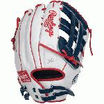 The perfectly balanced patterns of the updated Liberty Advanced series from Rawlings are designed to provide an improved level of control and comfort. Constructed with a full-grain oil treated leather shell and all leather laces. 80% Factory break-in for a game ready feel out of the wrapper. - Limited Edition Color Series - White/Navy/Scarlet Colorway - 13 Inch Slowpitch Model - H Web - Full-Grain Oil Treated Leather Shell - Game-Ready Feel - Break-In: 80% Factory / 20% Player - Poron XRD Palm and Index Finger Pads - All Leather Laces - Excellent Fit and Control - Custom Fit, Adjustable, Non-Slip Pull Strap Back