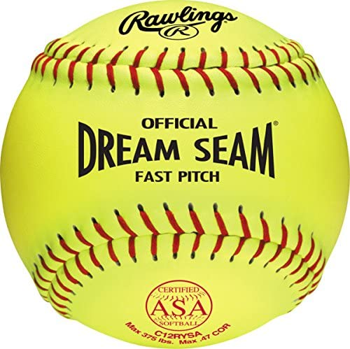 rawlings-official-asa-dream-seam-fastpitch-softball-c12rysa-single-ball C12RYSA-1EA   SINGLE C12RYSA SOFTBALL ASA NFHS approved fastpitch softball Yellow cover &