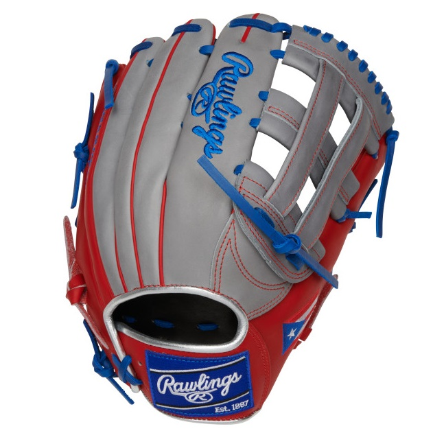 rawlings-olympic-puerto-rico-heart-of-hide-baseball-glove-12-75-right-hand-throw PRO3039-6PR-RightHandThrow Rawlings 083321667701 12.75 pattern Constructed from the top 5% of all available hides