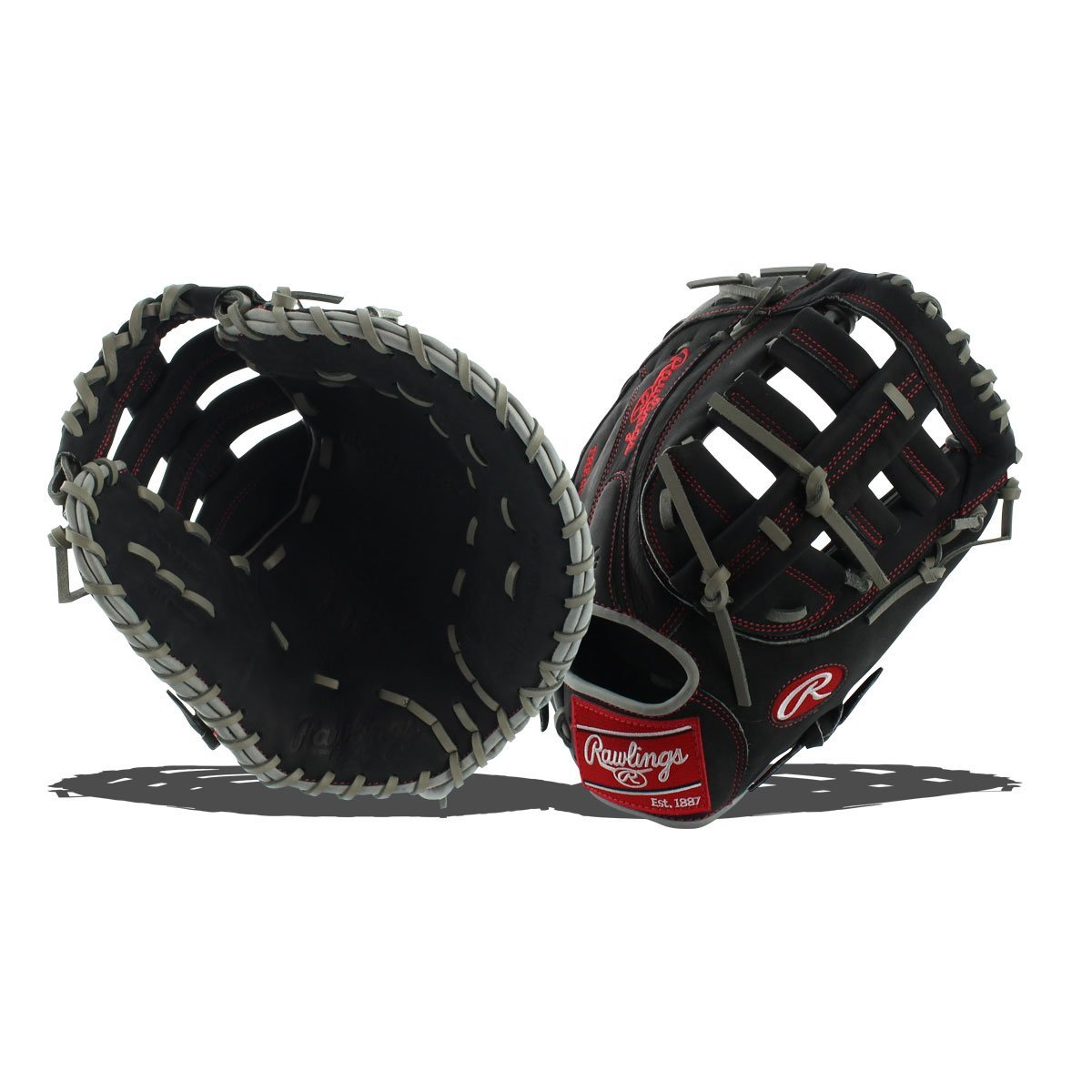 rawlings-profm18dcbg-hoh-dual-core-first-base-mitt-black-12-5-right-hand-throw PROFM18DCBG-RightHandThrow Rawlings 083321178689 Heart of the Hide174 Dual Core fielders gloves are designed with
