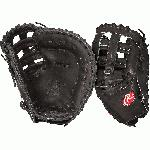 Rawlings PROFM20B Heart of Hide First Base Mitt 12.25 (Right Handed Throw) : This Heart of the Hide 1st base model features a over-lapping closed fastback and the Modified Pro H Web, which gives the glove a strong pocket so the ball stays in place. With its 12 14 pattern, this glove is designed to scoop and flatten out wide so you can trap the ball as it comes from any direction. Worn by countless Rawlings Gold Glove Award winners since 1958, the traditional Heart of the Hide series sets the standard. With premium steer hide leather, the best pro patterns and highest quality craftsmanship in the world, the HOH series and it's new colorways provide elite players with the pro-style glove they need to make their work in the field.