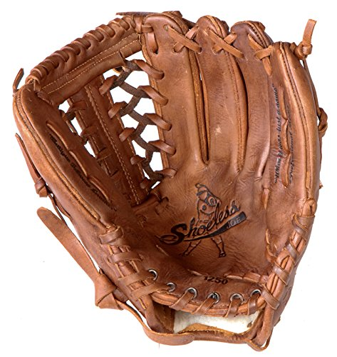 Shoeless Joe 12.5 inch Baseball Glove 1250SF Six Finger Web (Right Hand Throw) : In a 12 12 inch fielders glove, Shoeless Joe has 4 web options for a ball player to choose from. A Modified Trap, Tennessee Trapper, Six Finger and Basket Weave Pocket. All 12 inch fielders gloves have a large pocket and web area to securely receive and hold a baseball that is run down and caught in the outfield. The 12 12 inch glove series like all Shoeless Joe gloves are made 100% Steer hide, Tobacco tanned leather, are hand laced and oiled and require very little break in time.