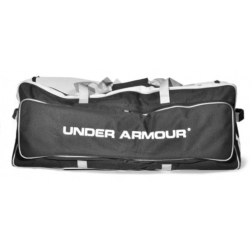 Under Armour Catchers Equipment Bag with Rollers 36 x 12 x 15 (Black) : Under Armour UACEB-1RB Pro Wheeled Catching Equipment Bag. This roller bag features a large center compartment which holds everything from helmets and gloves to shoes, bats, and a complete set of catcher's gear. The large outer compartment stores up to 4 bats. Bag ships folded, yet interior rails telescope to give bag a rigid bottom throughout the bag length. Wide wheel base in reinforced with wrap around plastic plate to prevent bag sag, and integrated skid rails protect bag while dragging up stairs and over curbs.