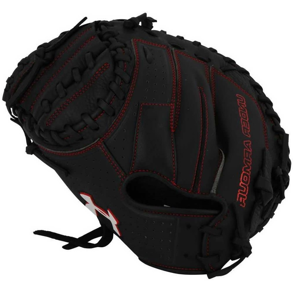 under-armour-cm100-catchers-mitt-33-5-left-hand-throw UACM-100-LeftHandthrow  029343039164 Tumbled palm leather for faster break in Durable synthetic backing for