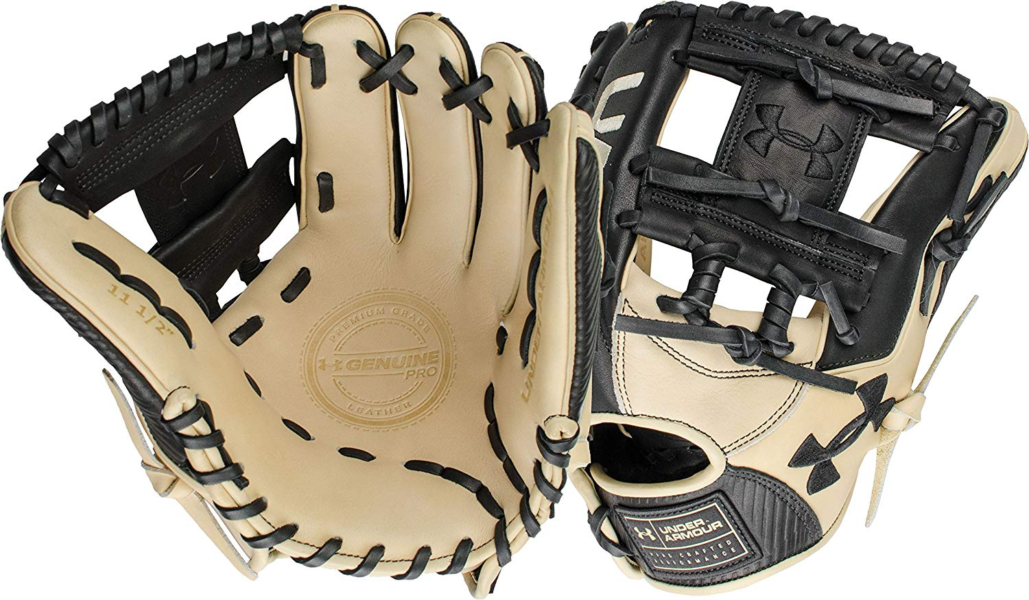 under-armour-genuine-pro-11-5-i-web-baseball-glove-right-hand-throw UAFGGP-1150IBKCR-RightHandThrow Under 029343046926 Black and cream design Right hand throw 11.5 inches infield model