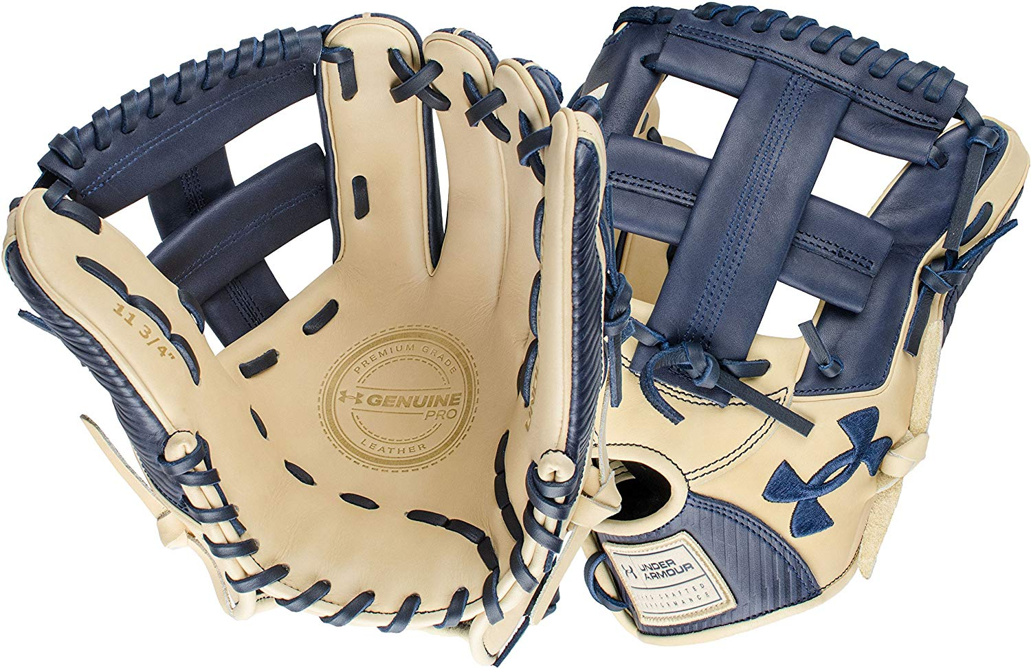 under-armour-genuine-pro-11-75-single-post-web-baseball-navy-glove-right-hand-throw UAFGGP-1175SPNACR-RightHandThrow Under 029343046964 Navy and cream design Right hand throw 11.5 inches infield model