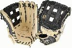 Black and cream design Right hand throw 12.75inch outfield glove Premium cowhide palm Japanese tanned steer hide. Black and cream design Right hand throw 12.75inch outfield glove Premium cowhide palm Japanese tanned steer hide Finger linings for quicker break-in High quality tanned lacing Rolled leather welting for lasting shape.