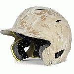 Under Armour Youth Batting Helmet Matte Finish (Camo) : Under Armour Protective UABH110MC Youth Military Camo Batting Helmet. The UABH-110 batting helmets feature a One Size Fits All dual density foam liner system. The liner is breathable, moisture wicking, and none of the padding blocks any of the large vent ports. Pony-tail channel built into padding for softball players. The shell, constructed from durable ABS plastic, has 12 large vent holes for maximum breathability. The shell is designed to deflect balls upon impact, provides extended cheek bone protection and coverage to protect a player's brain stem in the back of the neck. Hardware is pre-mounted in the helmet making it ready to accept a batting helmet chin strap or batting helmet face guard. Lower batting helmet chinstrap snap is removable.
