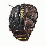 Gain an edge on the mound with the new A2000 B212 SS, now made with beautiful Black SuperSkin and Dark Brown Pro Stock leather. SuperSkin is twice the strength but half the weight of cowhide leather. This popular pitcher's model came about when Wilson Advisory Staff members requested a glove like the A2000 B2 with a little extra length. They like the closed 2-piece web for total ball and grip concealment on a 12 glove with a deep enough pocket for grip changes. The A2000 B212 SS offers unequaled performance and serious durability with a lighter feel thanks to the SuperSkin. - 12 Inch Model - 2-piece Web - Dark Brown Pro Stock Leather - Black SuperSkin - Dual Welting - Ideal for Pitchers
