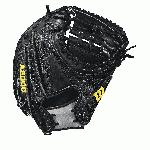 33.5 catcher model, half moon web Thumb Protector Black SuperSkin -- twice the strength but half the weight of cowhide leather Black and Gray Pro Stock leather, preferred for its rugged durability and unmatched feel Dual welting for a durable pocket and long-lasting break-in