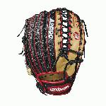 12.75 outfield model, 6 finger trap web Black SuperSkin -- twice the strength but half the weight of cowhide leather Blonde and Red Pro Stock leather, preferred for its rugged durability and unmatched feel Dual welting for a durable pocket and long-lasting break-in
