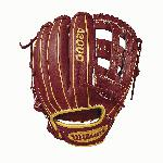 11.5 infield model, dual post web Brick Red with Vegas gold Pro Stock leather, preferred for its rugged durability and unmatched feel Dual welting for a durable pocket and long-lasting break-in