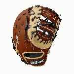 12.5 first base model, double horizontal bar web Copper, blonde and black Pro Stock Select leather, chosen for its consistency and flawlessness Rolled dual welting for long-lasting shape and quicker break-in Double palm construction, providing maximum pocket stability 3x more shaping, to help reduce break-in time
