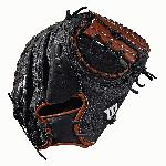 Catcher's model; half moon web Black SuperSkin, twice as strong as regular leather, but half the weight Copper and black Pro Stock Select leather, chosen for its consistency and flawlessness Rolled dual welting for long-lasting shape and quicker break-in Double palm construction, providing maximum pocket stability and 3x more shaping to help reduce break-in time