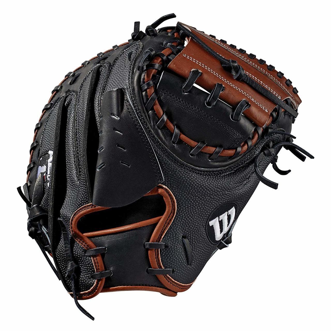 wilson-2019-a2k-baseball-catchers-mitt-33-5-right-hand-throw WTA2KRB19M2SS-RightHandThrow Wilson 887768701864 Catchers model; half moon web Black SuperSkin twice as strong as