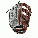Outfield model; dual post web; available in right- and left-hand Throw Grey SuperSkin, twice as strong as regular leather, but half the weight Copper and White Pro Stock Select leather, chosen for its consistency and flawlessness Rolled dual welting for long-lasting shape and quicker break-in Double palm construction, providing maximum pocket stability and 3x more shaping to help reduce break-in time