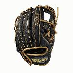 11.5 inch Baseball glove Made with pedroia fit for players with a smaller hand H-Web design Black and blonde Full-Grain leather. The A1000 line of gloves has the Pro Stock patterns you see in ballparks everywhere, in a soft, yet sturdy leather that's game-ready right away. The A1000 models are hand-designed patterns continuously improved by the Wilson Baseball team, optimized for faster break-in so you can make an immediate impact. Our best A1000 ever captures the true feel of an A2000 but with game-ready materials. A full grain leather shell, rawhide laces, and leather lining gives the glove strength where you need it, softness where you don't. - 11.5 Inch Model - Full-Grain Leather Shell - Rawhide Laces - Leather Lining - True Pro Stock Feel - Game Ready.