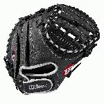 33 catcher's mitt Half moon web Grey and black Full-Grain leather Velcro back. The A1000 line of gloves has the Pro Stock patterns you see in ballparks everywhere, in a soft, yet sturdy leather that's game-ready right away. The A1000 models are hand-designed patterns continuously improved by the Wilson Baseball team, optimized for faster break-in so you can make an immediate impact. Our best A1000 ever captures the true feel of an A2000 but with game-ready materials. A full grain leather shell, rawhide laces, and leather lining gives the glove strength where you need it, softness where you don't. - 11.5 Inch Model - Full-Grain Leather Shell - Rawhide Laces - Leather Lining - True Pro Stock Feel - Game Ready