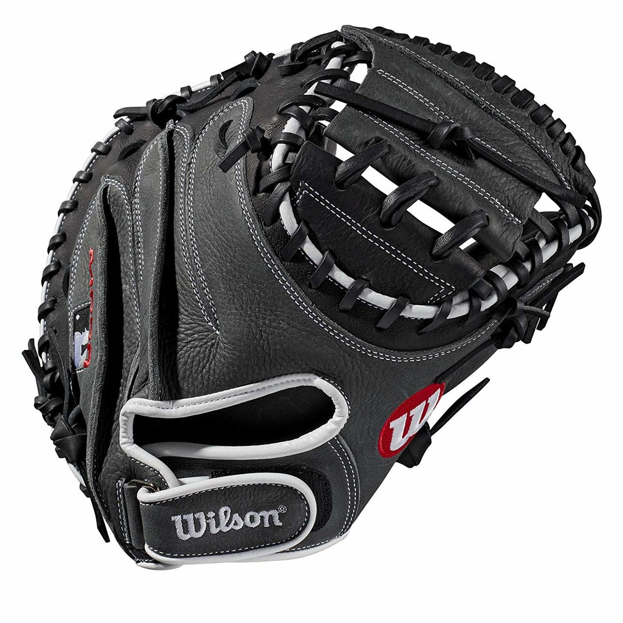 wilson-a1000-catchers-mitt-33-inch-right-hand-throw-cm33 WTA10RB19CM33-RightHandThrow Wilson 887768710897 33 catchers mitt Half moon web Grey and black Full-Grain leather