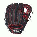 wilson a1k dp15 pedroia fit infield baseball glove blackred right hand throw