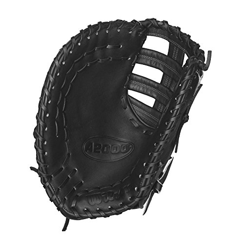 Wilson A2000 1613 Superskin First Base Mitt. 12.25 inch. Developed by Andres Galarraga, the Wilson A2000 1613SS First Base Mitt features a design with a single heel-break allowing for a thumb to middle finger break-in. The 1613SS First Base Mitt is constructed using Wilson's amazing Pro Stock leather and SuperSkin material. The Pro Stock Leather breaks in perfectly and the SuperSkin material helps reduce weight for a light, long lasting glove. The Wilson A2000 1613SS First Base Mitt also comes equipped with DirLex Wrist Lining, designed to help keep your hand cool and dry for better feel when closing the glove. 12.25 inch First Base Model. Single Heel Break Design. Pattern developed by Andres Galarraga. Pro Stock Leather combined with SuperSkin for a light, long lasting glove and a great break-in. DriLex Wrist Lining to keep your hand cool and dry.