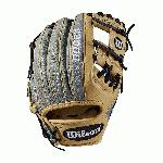 11.25 inch; infield model; H-Web Double lacing at the base of the web Grey SuperSkin, twice as strong as regular leather, but half the weight Blonde Pro Stock leather for a long lasting glove and a great break-in Dual welting for a durable pocket, flat finger binding, and drilex wrist lining to keep your hand cool and dry