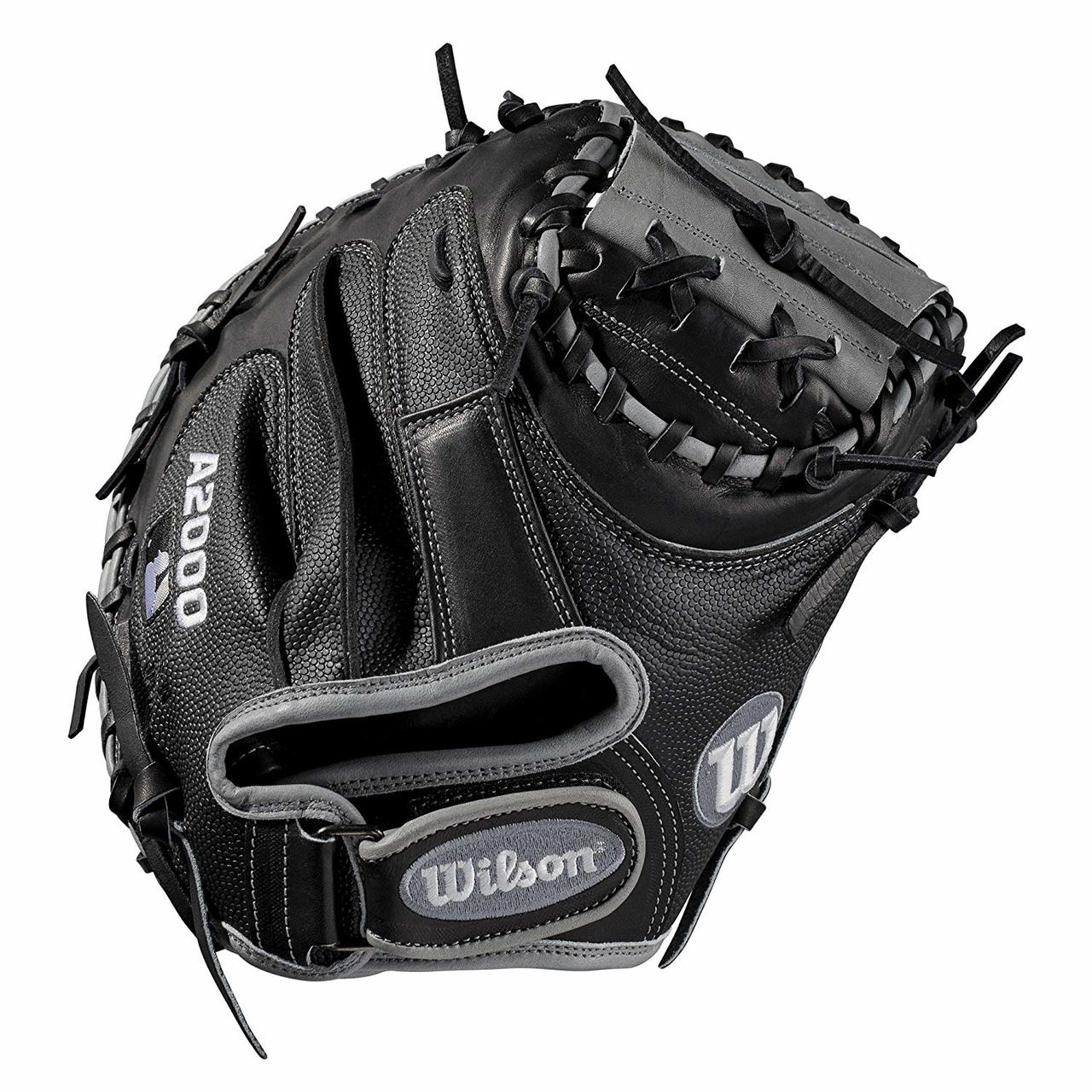 wilson-a2000-1790ss-catchers-mitt-2019-right-hand-throw-34 WTA20RB191790SS-RightHandThrow Wilson 887768702052 Catchers model; half moon web; extended palm Velcro wrist strap for