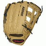12.75 Inch Pattern Colorway: Blonde  Black Red Dri-Lex Wrist Lining  Ultra-Breathable, Moisture Wicking Material H-Web Wilson Dual Post Web Outfield Specific Design Pro Outfield Pattern Pro Stock Leather - Long-Lasting Structure, Great Break-In Rolled Dual Welting - Allows Glove to Retain Shape Better Over Time